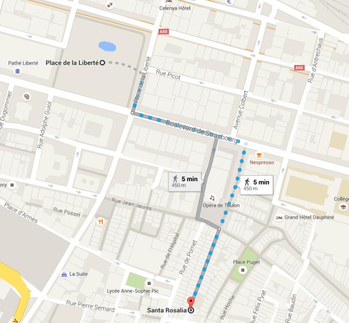 carte - itinéraire santa rosalia place de la liberté toulon
